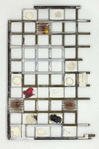 Wooden slats with sketches on paper, 270x150cm, 2013