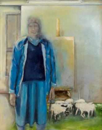 Eine Frau mit Kind, Mixed Media on Canvas, 290x200cm, 2012
