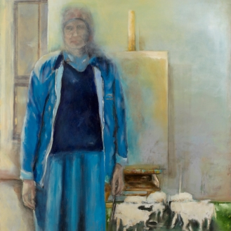 Eine Frau mit Kind, Mixed Media on Canvas, 290x200cm, 2012